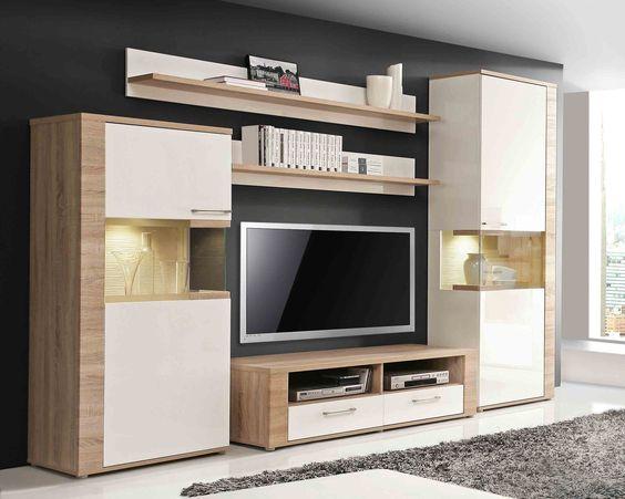 Topmodern, hell kombiniert mit Weiß Hochglanz Inkl weißer LED - moderner wohnzimmerschrank mit glastüren und led beleuchtung