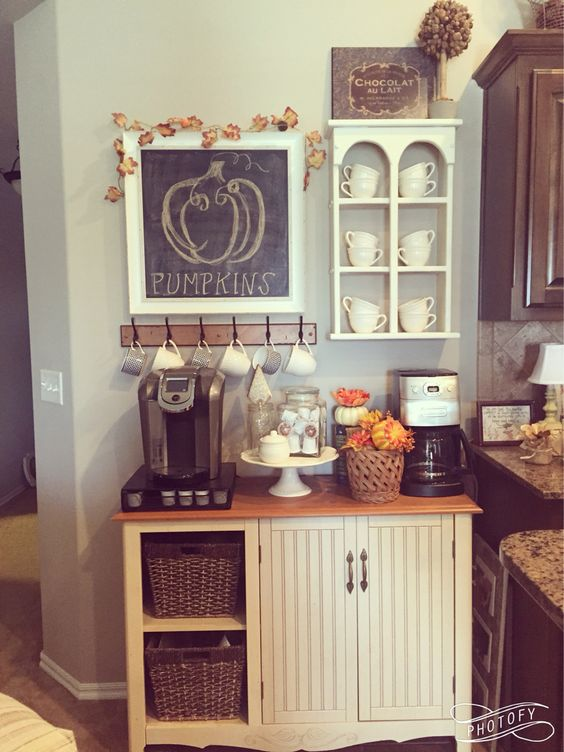 fall coffee bar coffee station home decor ideas. Black Bedroom Furniture Sets. Home Design Ideas