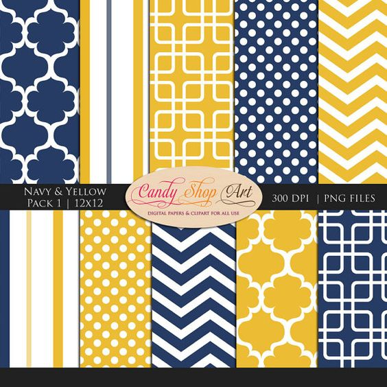 Instant Download - Navy, Yellow, and White digital backgrounds, Chevron, Stripes, Digital Paper, Geometric