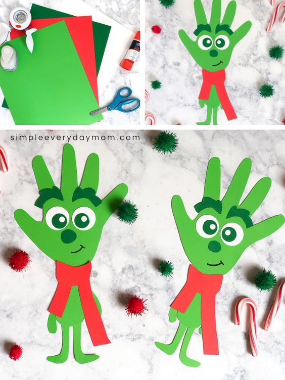 This handprint grinch paper craft is a fun and easy Grinch activity for kids in preschool, kindergarten, first grade and beyond! It comes with a free printable template and can be made for school art projects or just for fun and home!  #simpleeverydaymom #grinch #kidsactivities #kidscrafts #firstgrade #preschool #kindergarten #school #holidays #christmas #christmascrafts #handprintcrafts