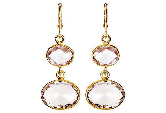 Blush Bezel Drop Earrings on OneKingsLane.com