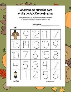 Laberinto de números para  el día de Acción de Gracias
