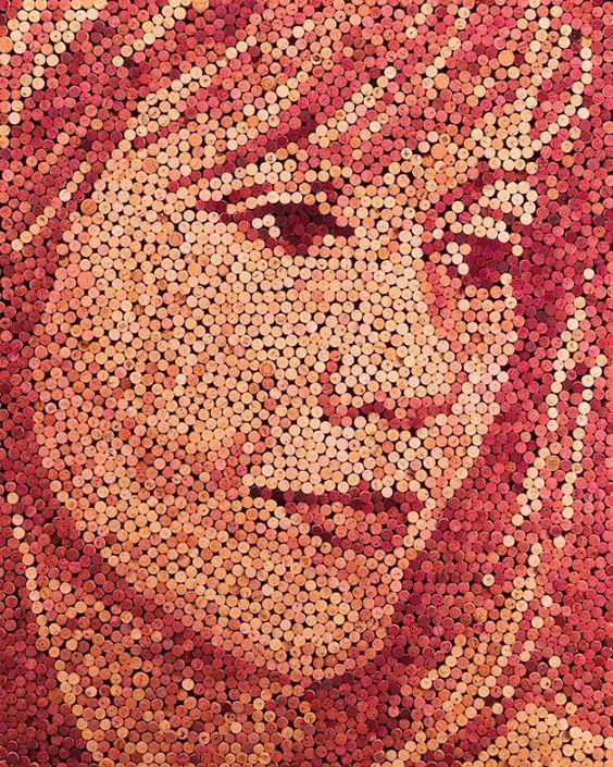 Artist Scott Gundersen made this portrait using 3,621 recycled corks