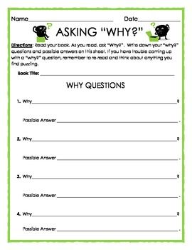 FREE: Reading Strategies: Asking Why? - 1 worksheet, 4 questions ...