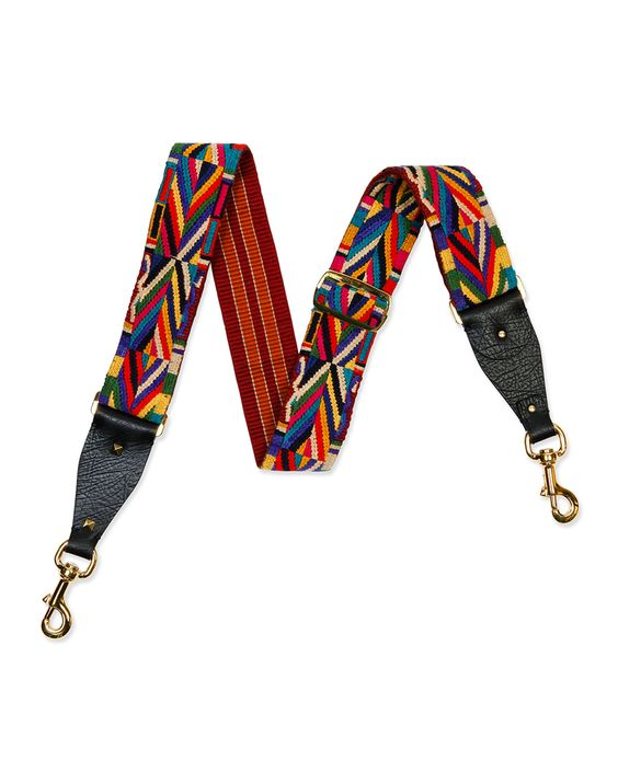 Geometric-Embroidered Guitar Strap for Handbag, Black - Valentino