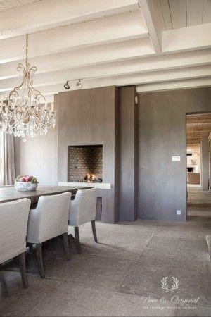 Vloer en kalkverf op de muur open haard in keuken landelijke stijl pinterest open haarden - Open haard keuken photo ...
