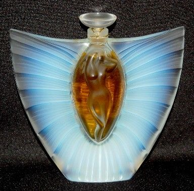 """""""The Master"""" Rene Lalique Perfume Bottle, I must say Lalique, L.C.Tiffany, and Steuben are 3 of the most incredible glass artist's in the history of glass work. My personal opinion."""