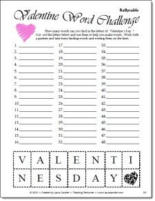 laura 39 s valentine word challenge freebie activities french and valentines. Black Bedroom Furniture Sets. Home Design Ideas