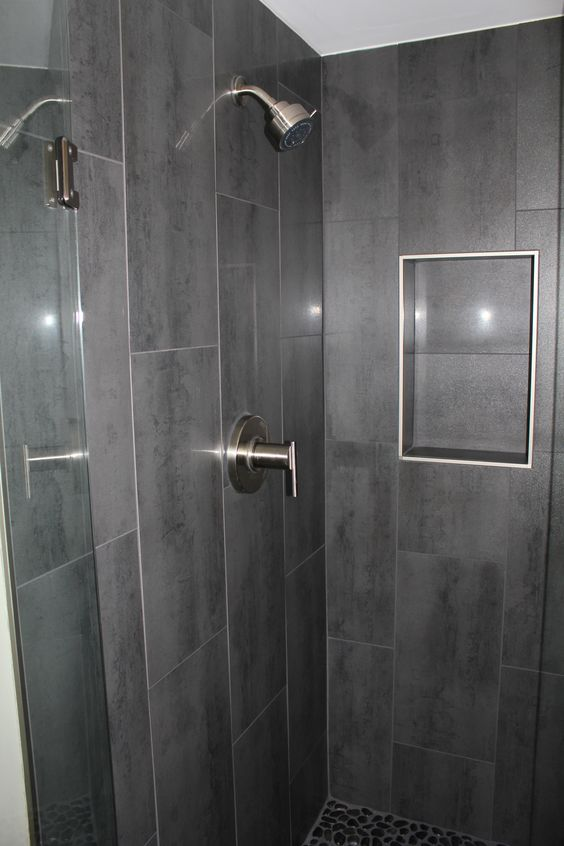 Niche w out bullnose gray 12 x 24 shower tile with danze shower faucet for the home Best tile for shower walls