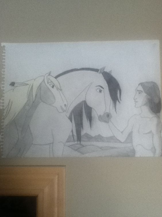 Drawing of my all time favorite movie as a kid; Spirit.