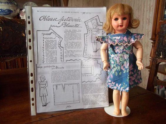 pour poupée bleuette:ensemble blouse et jupe semaine de suzette 1950 | eBay
