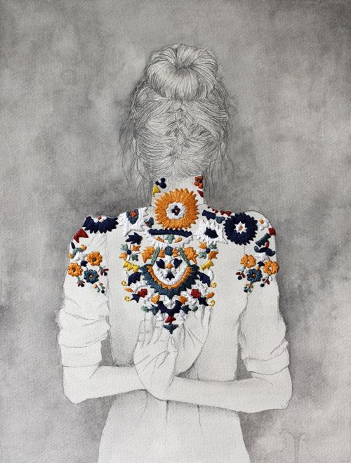 Izziyana Suhaimi. Combining embroidery with pencil drawings and watercolors