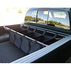 Organize your trucks belongings by using this full-size truck bed organizer. Great for camping, fishing, grocery shopping, or sports equipment, they are made from durable nylon and can attach to and under the rails in your truck bed.