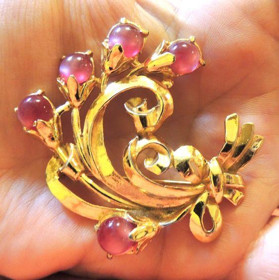 Pink Moonglow Brooch Pin Floral Spray Vintage Jewelry
