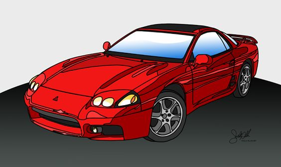 1995 Mitsubishi 3000GT VR4 ~ Original graphic art by Shelly Allen - LGMSports.com