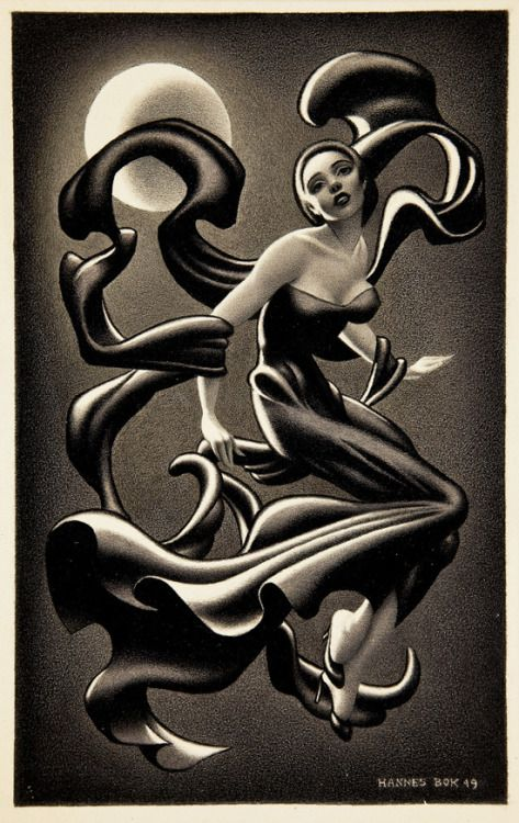 Woman Dancing by Hannes Bok ink & Conté crayon 1949 via...