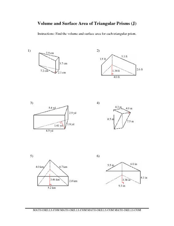Worksheets Surface Area Triangular Prism Worksheet surface area and worksheets on pinterest volume of trapezoidal prism worksheet a triangular worksheets