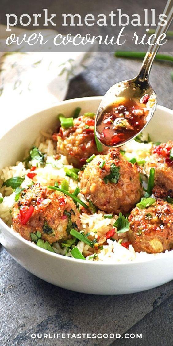 Asian Pork Meatballs over Coconut Rice