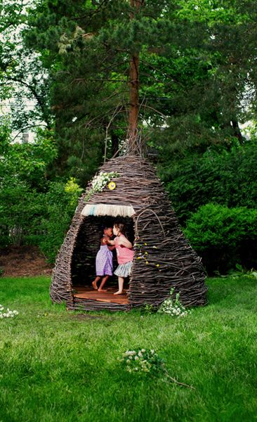 A thicket, by Cheeriup. A hand-woven shelter made from saplings. Yes, you can buy one.