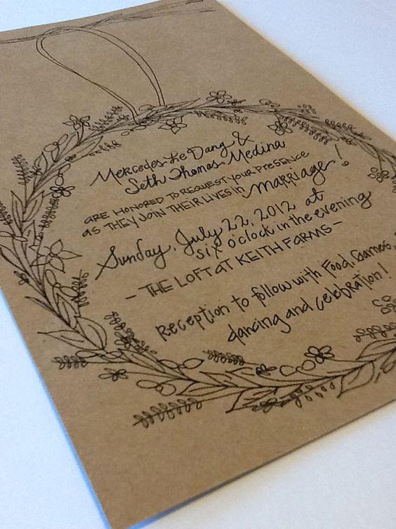 Sweet wreath wedding invitation suite custom hand for Hand lettered invitations
