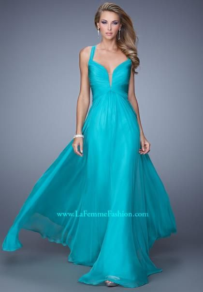 Plunging Neckline La Femme Dress 20995 - $338 @ peaches in chi, IL (chiffon)