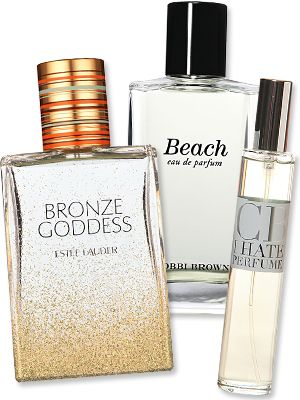 Sunscreen scented Perfumes - Bobbi Brown's Beach, Estee Lauder's Bronze Goddess smells like poolside coconut lotion. Love the scent of sunscreen, it puts me in a summer mood year round!