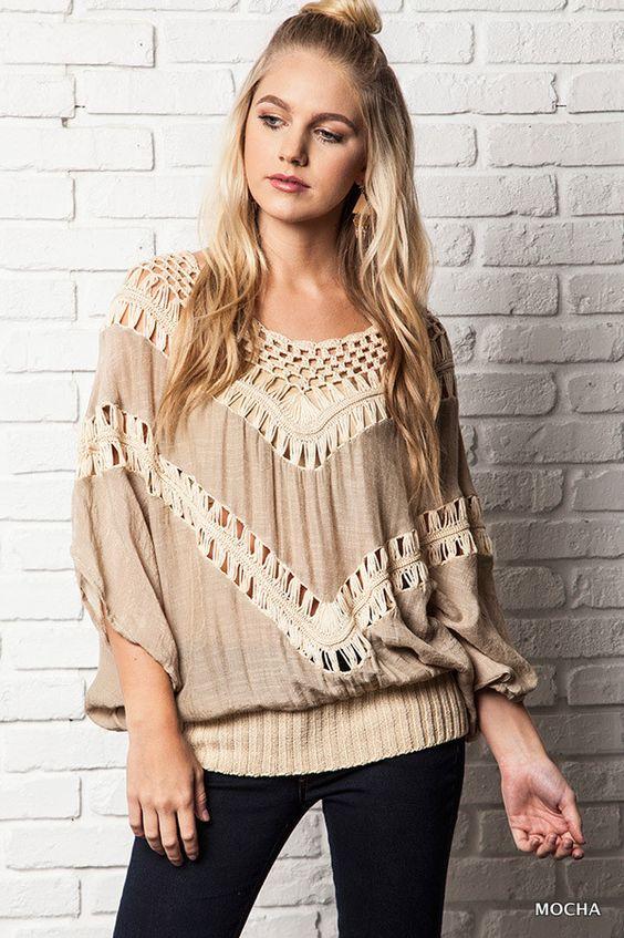 Oversized Knit Crochet Top