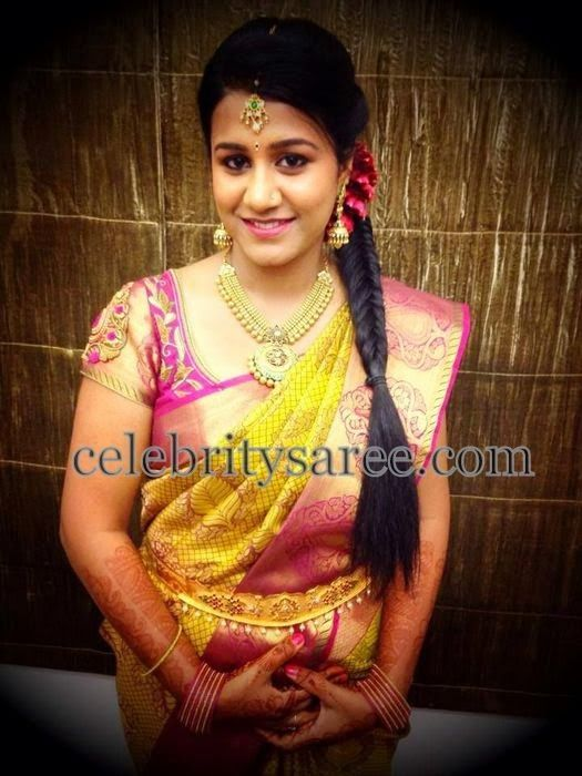Real Bride In Maggam Work Blouse