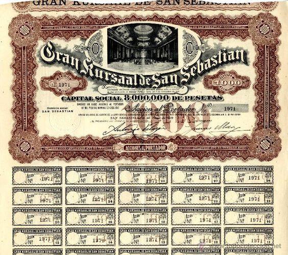Acción del Gran Casino Kursaal. 1923.