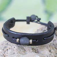 Men's leather wristband bracelet, 'Black Standout' - Men's African Leather Wristband Bracelet