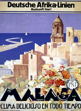 Malaga poster - Interesting to note that the Germans & Moroccans (N Africans) must've taken the poster to heart for in different times each/both invaded Spain in droves, not necesarily for the delicious climate in both instances!