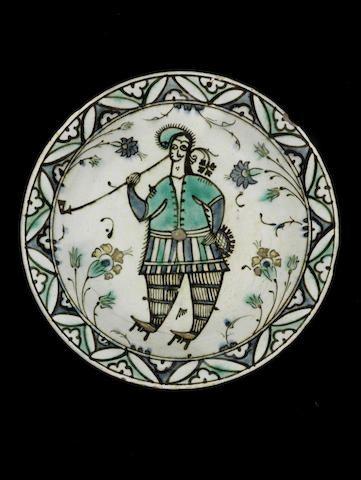 A rare Iznik figurative pottery Dish Turkey, 17th Century