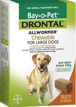 Hervey Bay Pet Stop - DRONTAL ALLWORMER DOG 35KG 20'S CHEWABLE, $283.71 (http://hervey-bay-pet-stop.mybigcommerce.com/drontal-allwormer-dog-35kg-20s-chewable/)