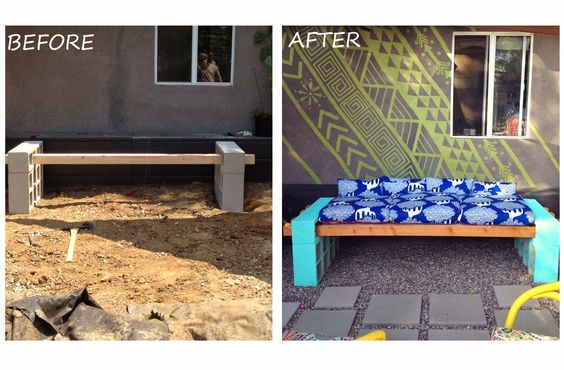 Lena Sekine: DIY Outdoor Seating cylinder blocks put together with concrete adhesive then painted. Cushion made from camping mattress cut to fit.