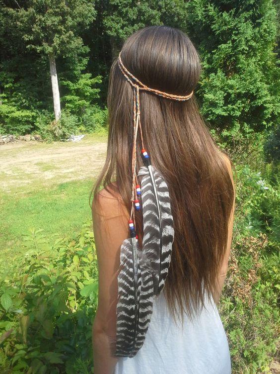 Feather Headband, Boho, Bohemian, Pheasant, red white & blue, Feathers, braided, Native American, Indian, Pocahontas, Bohemian, Patriot