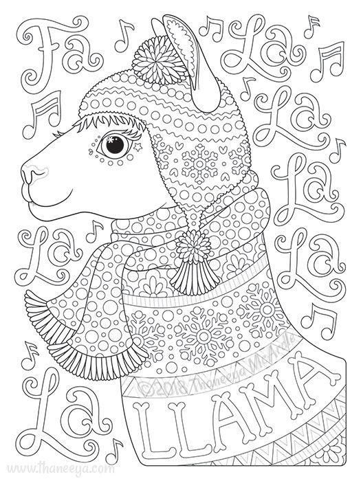Fa La La La La La La Llama Coloring Page By Thaneeya Christmas