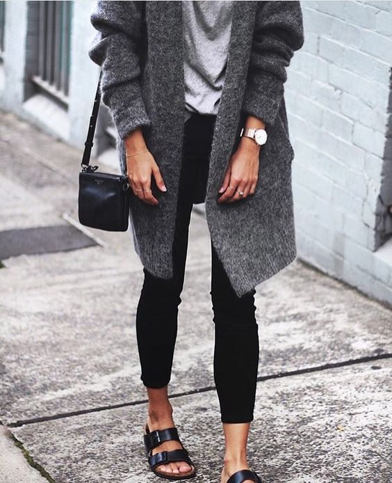@andwhatelse \ Mid grey long cardi + pale greay top + black trousers + black flat sandals