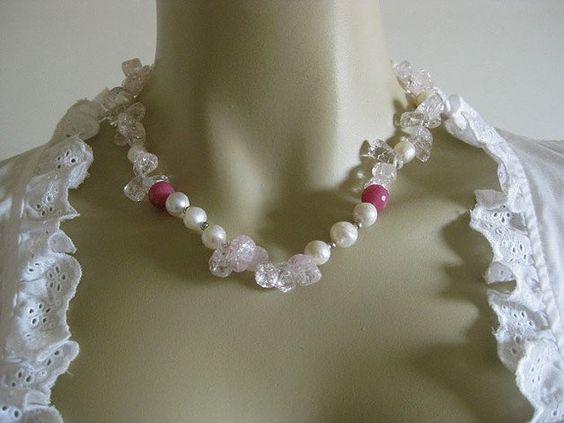 Trachtenschmuck - UNIKAT Trachtenkette echte Perlen rosa weiß Quarz - ein…