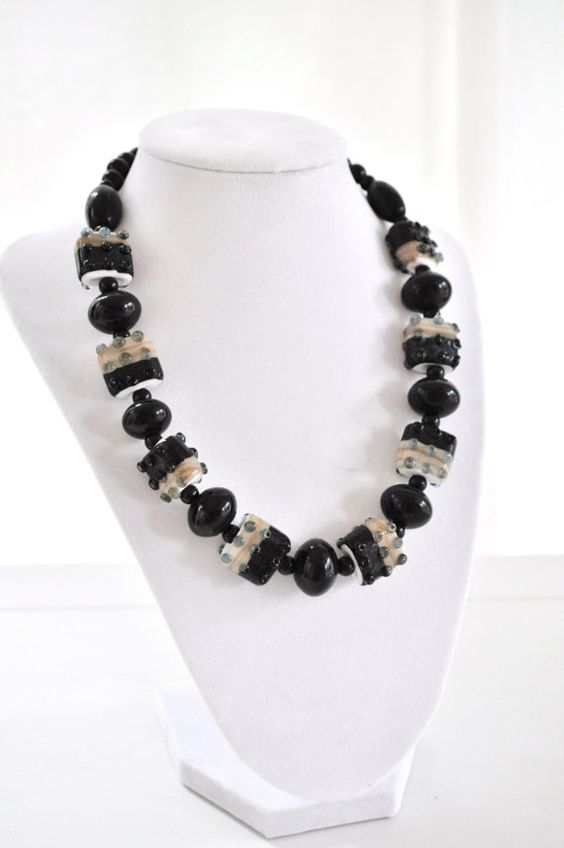 Lampwork Beaded Necklace Black by AprilGetsCrafty on Etsy, $48.00