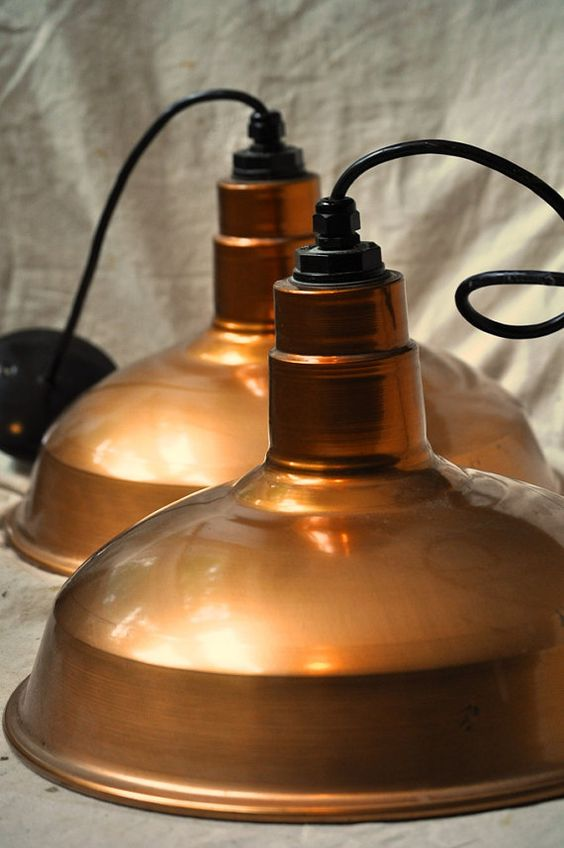 Copper Industrial Lamp $84