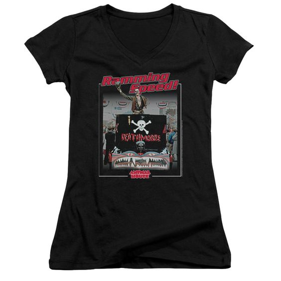 Animal House Ramming Speed Black Womens V-Neck T-Shirt