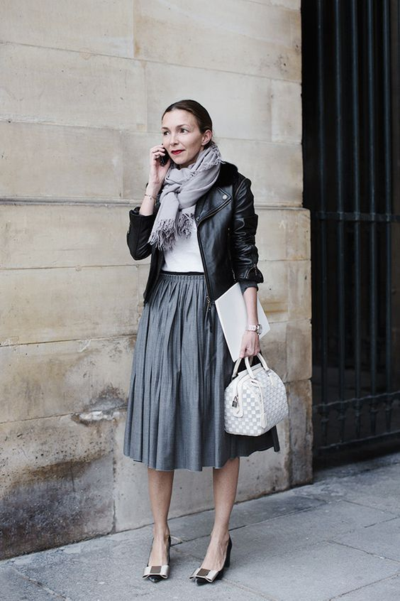french women style, black leather jacket, gray pleated skirt