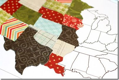 How to create a map of the United States with scrap booking paper.  PDF tutorial linked.  Instructions could be used for any country's map.