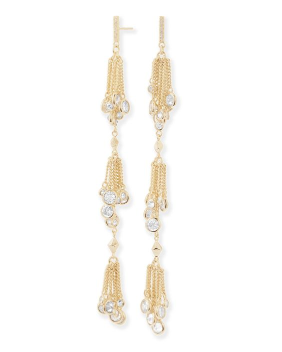 """Kendra Scott Tallulah Shoulder Duster Earrings in Gold Plated and Cubic Zirconia. Metal: 14k Gold Plated over Brass. Stone/Color: White Cubic Zirconia. Closure Type: Post Back. Measurements: Approximate 4.53""""L by 0.35""""W. Comes in a Kendra Scott gift box with its Kendra Scott signature medallion fabric bag."""