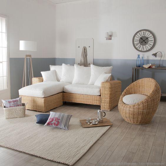 Canap d 39 angle et fauteuil oeuf en rotin et tissu blanc for Canape plan de campagne
