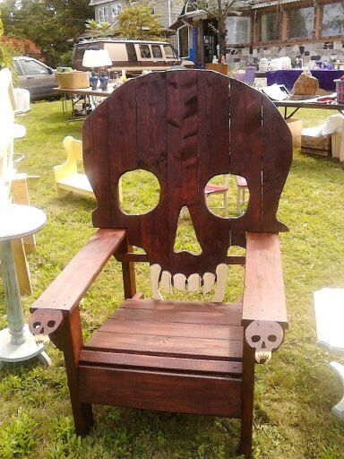 Wood Skull Lawn Chairs ~ Skull chair skulls and yard furniture on pinterest