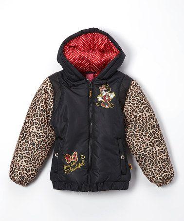 Another great find on #zulily! Black Minnie Leopard Jacket - Toddler & Girls #zulilyfinds