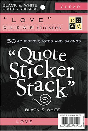 Diecuts With A View Black and White 4-3/8 Inch by 7 Inch 10 Sheets Clear Sticker Quote Stack, Love