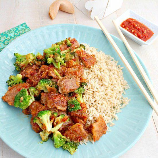 Schezuan Beef with Broccoli.