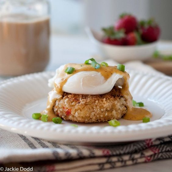 Crab Cakes Eggs Benedict with Bacon Hollandaise